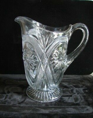 Victorian 1908 New Martinsville EAPG Pleated Medallion Pattern Glass Wtr Pitcher