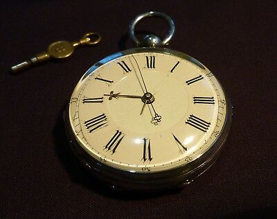 Rare Chinese Antique Duplex Silver Pocket Watch   key wound  for repair