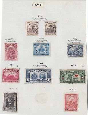 Collection Of 10 Various Stamps From Haiti - Hinged On Album Page