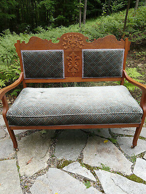 Antique Victorian Style Carved Curved Arm Oak Love Seat Refinished Reupholstered