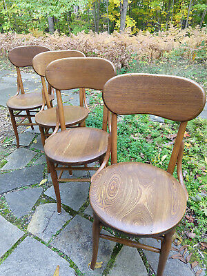 Antique Set of 4 Bentwood Ash Side Dining Chairs Solid Curved Backs Round Seats