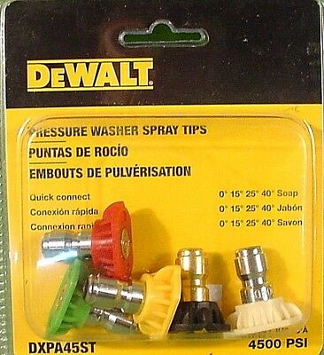 DEWALT DXPA45ST Pressure Washer Nozzle 5 Pack Quick Connect  4500PSI (3798)