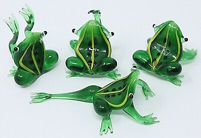 "SET OF 4 Comical Green & Yellow Glass Frogs, Handcrafted Lampwork, 1.5""-3"" EPOC"