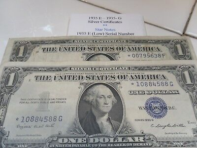 1935 E & 1935 G One Dollar *STAR NOTES Bills in great condition