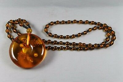 Handwork Collectable Decoration Amber Inlay Flower & Bead Beautiful Necklaces