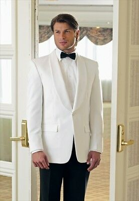 WHITE DINNER JACKET First Nighter Formal Tuxedo Coat NEW Classic Neil Allyn