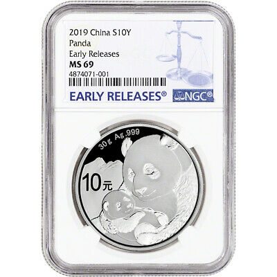 2019 China Silver Panda 30 g 10 Yuan - NGC MS69 Early Releases