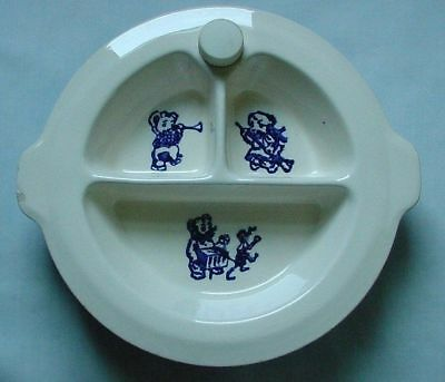 Vintage Blue & White Divided Child's Feeding Warming Dish 3 Bears Monkey
