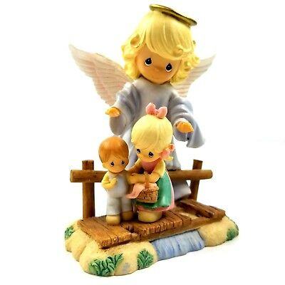 Precious Moments Guardian Angel With Children On Bridge Figurine Collectible New