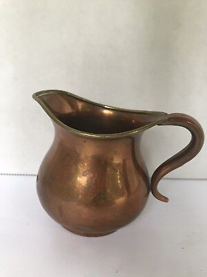 "Small Antique Vintage Copper Pitcher Vase Copper Handle Brass trim 2.90"" tall"