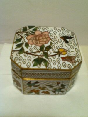 Vintage Cloisonne Floral Trinket Box White With Flowers & Butterflies