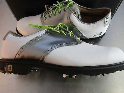 Footjoy Myjoys Icon Traditional Golf Shoes 52010 White Silver Patent Leather 9 W