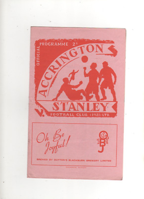 1951-52 ACCRINGTON STANLEY V LINCOLN CITY 29th March 1952 Division 3 North