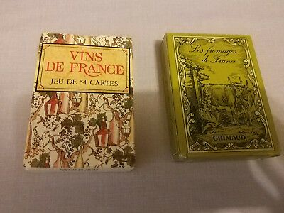 LOT 2 CARTES - LES FROMAGES VINS DE FRANCE - GRIMAUD MADE IN FRANCE baraja cards