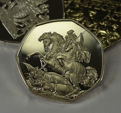ST GEORGE & THE DRAGON Silver Commemorative Coin for Albums/50p Collectors RARE