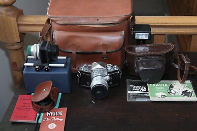 Exakta VX IIa 35mm SLR, Light meter, bellows, mauals, case and more.