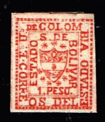 Columbia Stamp 1 Peso Mh/og  Imperf Small Stamp