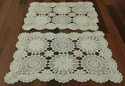 2 Vintage White Hand Crocheted Cotton Doilies / Table Mats