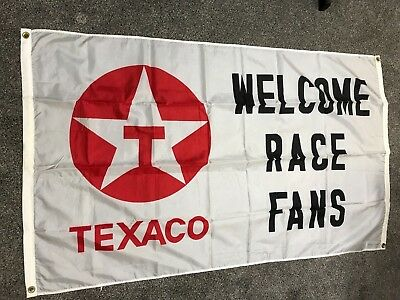 "TEXACO ""WELCOME RACE FANS"" - 35""X61"" FLAG- advertising TEXACO collectible"