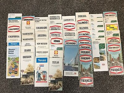 LOT SALE: 54 ct. TEXACO US STATE & REGION collectible MAPS- most vintage 1970s