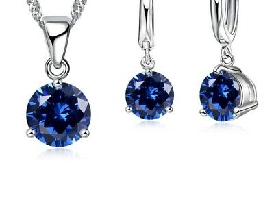 *UK* 925 Sterling Silver Necklace Pendant Earrings Jewellery Set