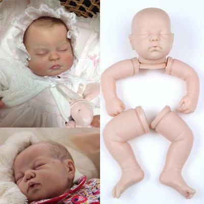 "22"" Unpainted Reborn Kits Baby Doll Soft Silicone Head + 3/4 Arms Full Legs DIY"