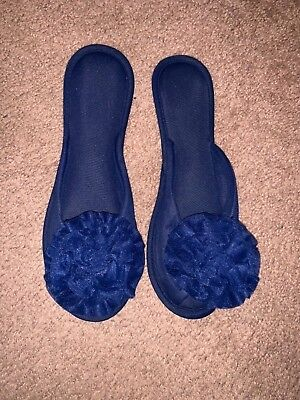 Vtg NAVY BLUE MADYE'S Fancy Elegant GLAMOUR SCUFFS SLIPPERS Shoes  L 8 9 NEW