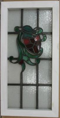 "MID SIZE OLD ENGLISH LEADED STAINED GLASS WINDOW Helmet & Shield 15.75"" x 30.75"""