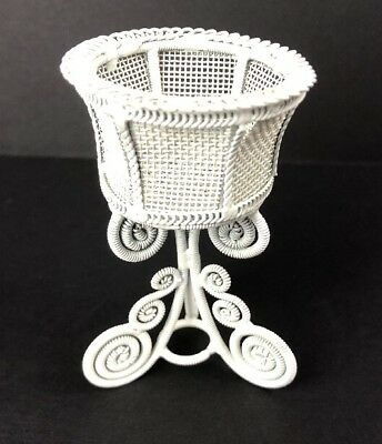 Dollhouse Miniature White Wire Plant Stand Victorian Style 1:12