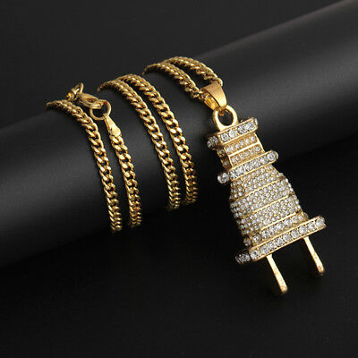 Men's Gold Plated Hip Hop Iced Out Wall Plug Pendant Necklace Gift Jewelry