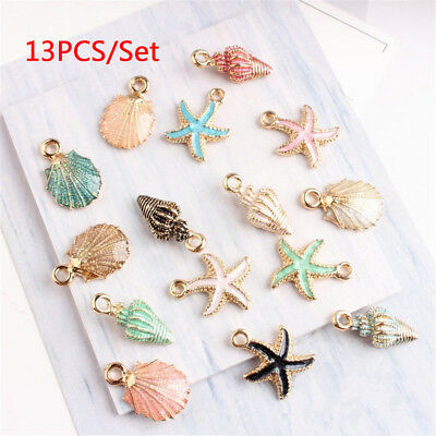 13Pcs/set Conch Sea Shell Charms Ocean Pendants Earring Handmade Craft Making