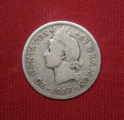 Dominican Republic 25 Centavos, 1937, Silver World Coin