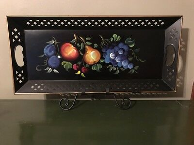 Vintage Black Hand Painted 22x10 Fruit Nashco Metal Tole Serving Tray