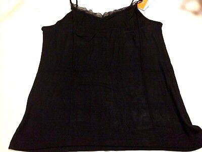 B96 Gillian & O'Malley Women's SLEEP Cami Tank Top BLACK SOFT SLEEPWEAR 1X / XL