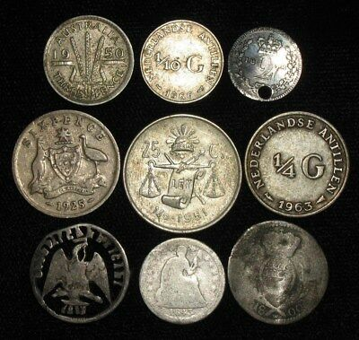 9 Silver World Coins.  1800-1966.   No Reserve!!