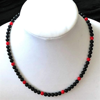 Black Matte Onyx and Red Beaded Mens Necklace Jewelry Beads Stones Natural