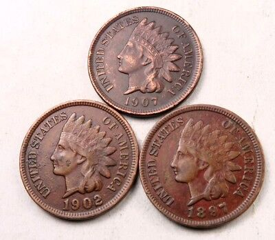 1897+1902+1907 Indian Head Penny Lot // AU // 3 Coins // (IL122)