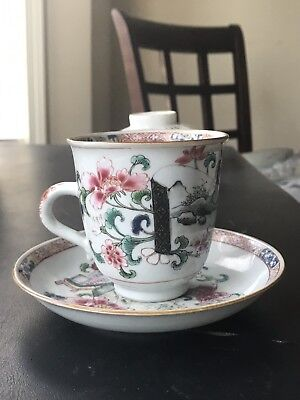 Antique Chinese Porcelain Famille Rose high quality Tea Cup Set 18th Century