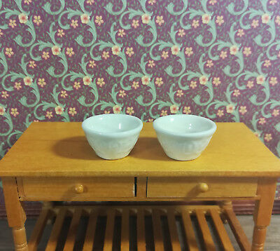 Dollhouse Miniature Large Ceramic Mixing Bowls with Pattern White Set of 2 1:12