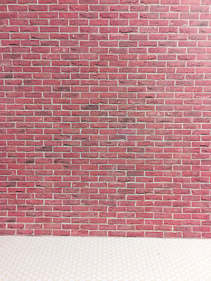 Dollhouse Miniature Red Brick Textured Embossed Paper 1:12 Scale