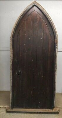 Arched Front Door Set Antique Period Reclaimed Old Tudor Frame Pine Wood Metal