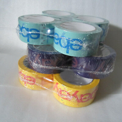 "Lot of 12 - 2"" x 75 yard Green, Purple, Yellow eBay Branded Packaging Tape Pack"