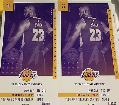 Lakers Vs Golden State Warriors 2 Tickets Sec. 214 Row 7 Seats 1&2.   1-21-19