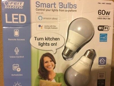 FEIT SMART BULBS WI-FI 60 WATT pack 2 Color Changing Voice Control NEW OPEN PACK