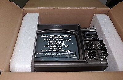"Vintage NEW old stock Bentley Model 1000A Portable 5"" Black White TV VHF UHF"