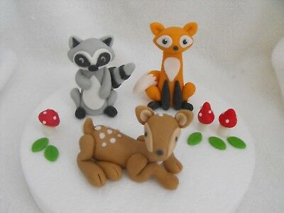 Cake Toppers Edible Woodlands/Forest Animals Set of 3 Deer Raccoon Fox