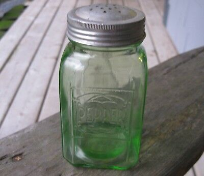 Antique Depression Glass Green Pepper Shaker Vintage Farmhouse Country Decor!