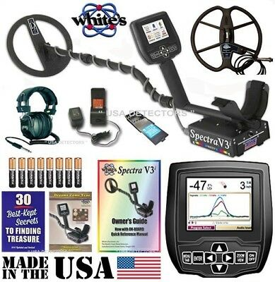 "Whites SPECTRA V3i Metal Detector With 10"" DD and 13"" Detech DD Search Coils"
