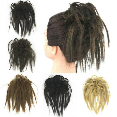 Womens Curly Wave Hair Bun Clip Comb In Hair Messy Chignon Hairpiece Wig