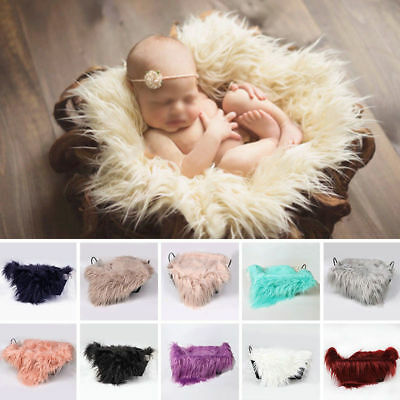 Newborn Baby Faux Fur Blanket Basket Stuffer Rug Backdrop Photo Photography Part